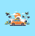 retro car with luggage on roof tropical sunset vector image