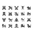 robot dog black silhouette icons set vector image