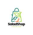 salad shop shopping bag natural vegetable logo vector image vector image
