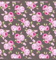 seamless floral pattern with pink roses and leaves vector image vector image