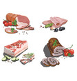 set cartoon food stylized raw meat vector image