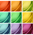 set of colored satin textile with wavy folds vector image