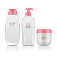set of realistic cosmetic bottles tube container vector image vector image