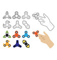 set of spinners by lines and flat vector image vector image