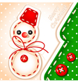 sewing snowman and tree vector image vector image