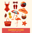 summer and sea elements isolated on background vector image