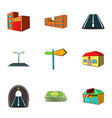 town icons set cartoon style vector image vector image