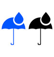 umbrella and rain drops icon vector image vector image