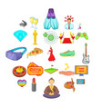 weekend icons set cartoon style vector image vector image