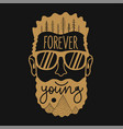 with bearded man in sunglasses pine trees doodle vector image vector image