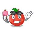 with ice cream nectarines cartoon with green vector image