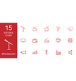 15 broadcast icons vector image vector image