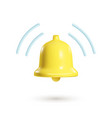 3d notification bell isolated on white background vector image vector image