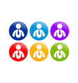 abstract business man round graphic icon set vector image