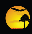 airplane over the desert vector image