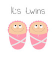 baby shower card its twins girl cute cartoon vector image vector image