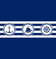 banner with sea emblems on seamless background vector image vector image