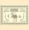 certificate design in vintage style with deer vector image