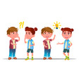 characters children thinking and understand vector image