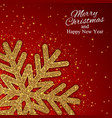 christmas new year background with gold snowflake vector image vector image