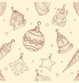 christmas toys seamless pattern in in hand drawn vector image vector image