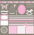 cute scrapbook design elements set vector image vector image