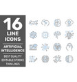 digital technology icons set ai iot smart brain vector image
