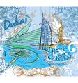 dubai doodles vector image vector image