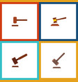 flat icon hammer set of justice tribunal defense vector image vector image