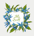 flowers lilies square frame hello spring vector image vector image