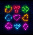 gaming neon icons for casino vector image vector image