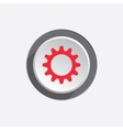 Gear icon Cogwheel symbol Red sign on round vector image