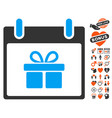 gift box calendar day icon with dating bonus vector image vector image