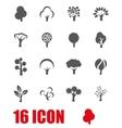 grey trees icon set vector image vector image