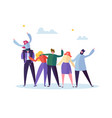 group of happy young male and female character vector image