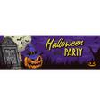 halloween party horizontal banner vector image vector image