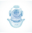 hand drawn vintage diving helmet vector image vector image