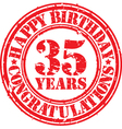 Happy birthday 35 years grunge rubber stamp vector image vector image