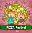 happy kids pizza festival concept background vector image