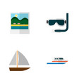 icon flat summer set of aqualung pictures ship vector image vector image