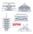 japan landmarks temples and pagodas shrines vector image vector image