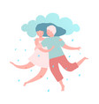 man and woman couple with love rain vector image