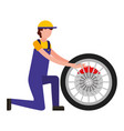 mechanic with brake disc engine part vector image vector image