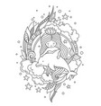 mermaid and dolphin surrounded by clouds and vector image vector image