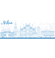Outline Milan Skyline with Blue Landmarks