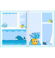 Paper design with sea animals vector image vector image