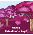 Pink forest with hearts vector image vector image