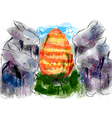 rabbits and egg vector image vector image