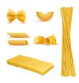 realistic set macaroni italian pasta vector image