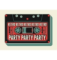 Retro Party poster design with an audio cassette vector image